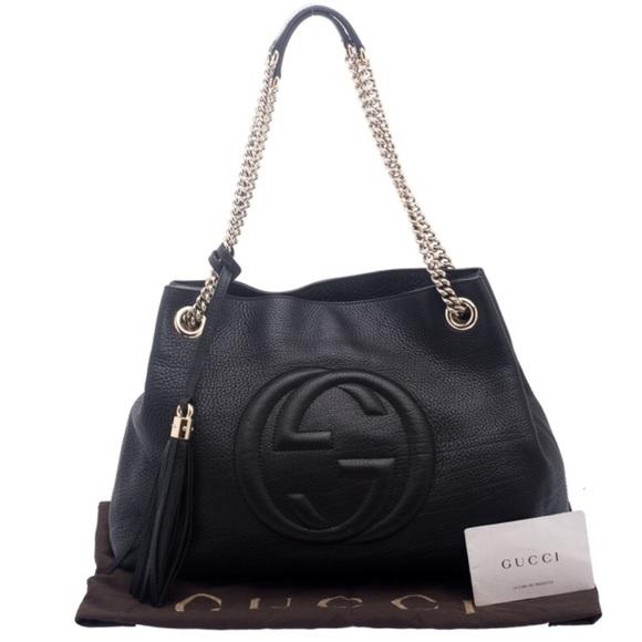 afd63bb286c Gucci Handbags - Gucci Black Leather Medium SOHO Tote
